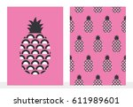 set of pineapple card and... | Shutterstock .eps vector #611989601