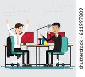 business people happy in room... | Shutterstock .eps vector #611997809