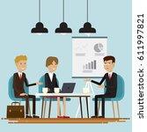 business people meeting room... | Shutterstock .eps vector #611997821