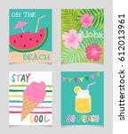 vector set of cute summer...   Shutterstock .eps vector #612013961