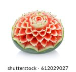 Watermelon Carving On White...