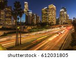 traffic in downtown los angeles ... | Shutterstock . vector #612031805