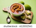 homemade mango pickle or aam ka ... | Shutterstock . vector #612032561
