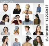 set of diversity people slow... | Shutterstock . vector #612033659