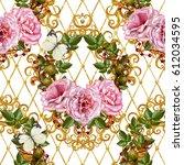 pattern  seamless  floral... | Shutterstock . vector #612034595
