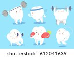 cute cartoon tooth with... | Shutterstock .eps vector #612041639