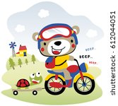 cute bear drive motorcycle ... | Shutterstock .eps vector #612044051