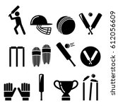 cricket   sport vector icons set | Shutterstock .eps vector #612056609