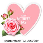 mother's day card with pink... | Shutterstock .eps vector #612059909