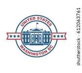 white house building icon in... | Shutterstock .eps vector #612063761