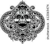 gothic coat of arms with skull... | Shutterstock .eps vector #612065474