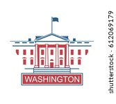 white house building icon in... | Shutterstock .eps vector #612069179