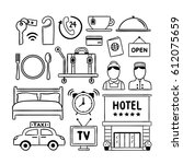 hotel service doodle icons.... | Shutterstock .eps vector #612075659