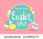 happy easter spring holiday... | Shutterstock .eps vector #612083375