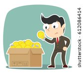 businessman choosing bulb  | Shutterstock . vector #612086414
