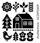 finnish inspired folk art... | Shutterstock .eps vector #612092609