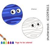 cute uranus planet to be... | Shutterstock .eps vector #612093611