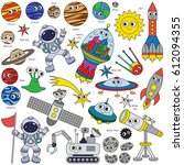 colorful space kid elements set ... | Shutterstock .eps vector #612094355
