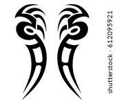 tattoo sketch tribal vector... | Shutterstock .eps vector #612095921