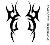tattoo sketch tribal vector... | Shutterstock .eps vector #612095939