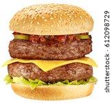 double hamburger   cheese...   Shutterstock . vector #612098729