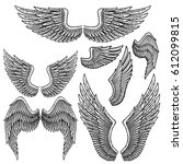 set of monochrome bird wings of ... | Shutterstock . vector #612099815