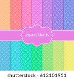 pastel shells seamless... | Shutterstock .eps vector #612101951