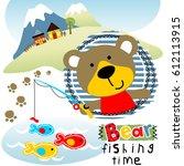 bear fishing time  kids t shirt ...   Shutterstock .eps vector #612113915