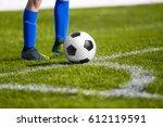 soccer ball on the field  ... | Shutterstock . vector #612119591