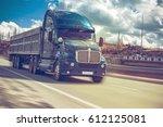 rural landscape with an asphalt ... | Shutterstock . vector #612125081