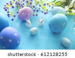 easter eggs and flowers with... | Shutterstock . vector #612128255