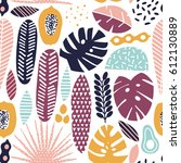 modern exotic fruits and plants ... | Shutterstock .eps vector #612130889