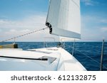 beautiful yacht in open sea.... | Shutterstock . vector #612132875