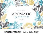 vector floral background. hand... | Shutterstock .eps vector #612133559