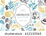 vector floral background. hand... | Shutterstock .eps vector #612133565
