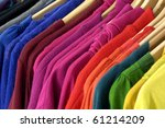 close up colorful shirt rack | Shutterstock . vector #61214209
