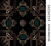 art deco geometric vintage frame | Shutterstock .eps vector #612142241
