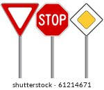 traffic signs against white... | Shutterstock .eps vector #61214671