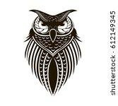 black painted owl on white... | Shutterstock .eps vector #612149345