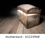 Old Wooden Treasure Chest With...