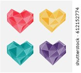 polygon vector hearts on white... | Shutterstock .eps vector #612152774
