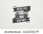 logo music store  hipster style.... | Shutterstock . vector #612153179