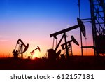 pumping unit is working in oil... | Shutterstock . vector #612157181