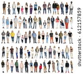 diversity people set gesture... | Shutterstock . vector #612157859