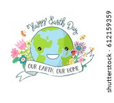 cartoon earth illustration.  | Shutterstock .eps vector #612159359