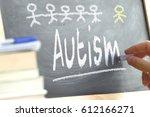hand writing on a blackboard in ... | Shutterstock . vector #612166271