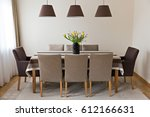 table with comfortable chairs | Shutterstock . vector #612166631