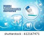 whitening toothpaste ads...   Shutterstock .eps vector #612167471