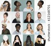 set of diversity people face... | Shutterstock . vector #612168701