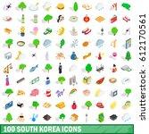 100 south korea icons set in... | Shutterstock .eps vector #612170561